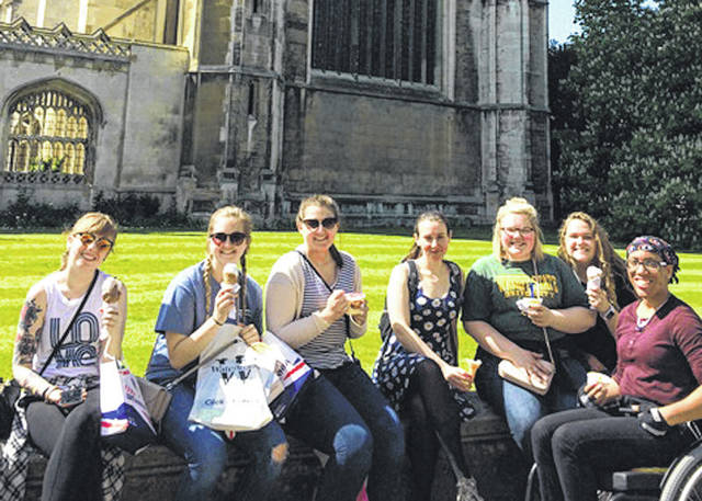 Wright State University students interested in rehabilitation services and disability studies recently studied abroad. Students relaxing outside a college at Cambridge University are Abby West, Lizzy Carnahan, Lindsey Strickland, Rose Guy, of Anglia Ruskin University, Maggi Hole, Becca Endicott, and Renaissance Craver.