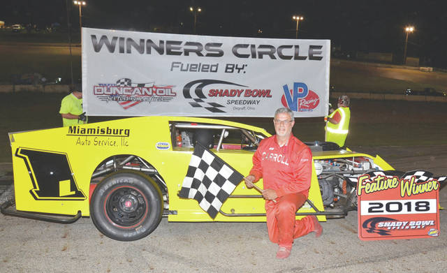 Mike Carroll, of Cedarville, won the 30-lap Modified division feature July 7 at Shady Bowl Speedway in DeGraff.