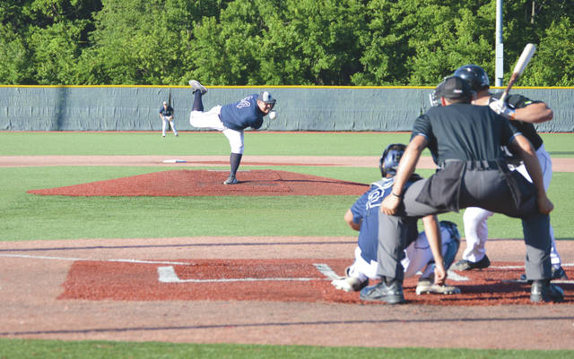 Xenia starting pitcher Sam Dralle, of Cairn University, delivers a pitch against a Saginaw batter, July 19 at Grady's Field in Xenia. The visiting Sugar Beets defeated Xenia, 3-2.
