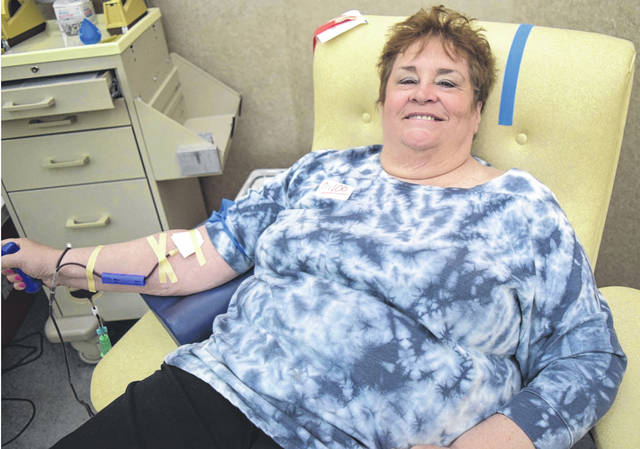 Submitted photo Xenia resident Vicky Waldren recently made her 100th blood donation.