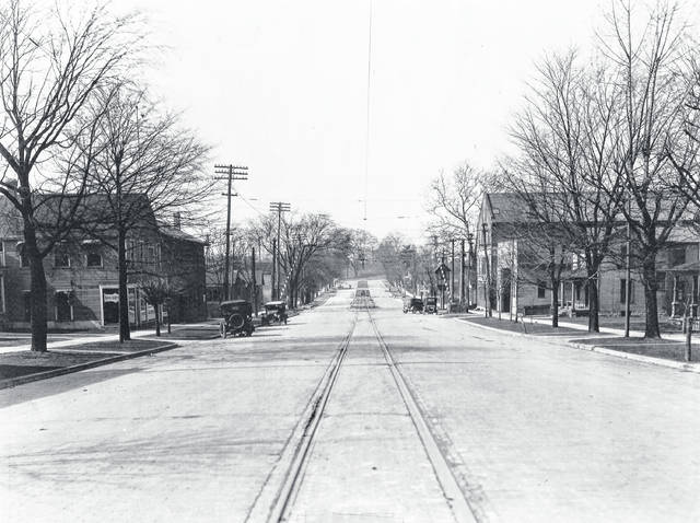 Courtesy of Greene County Historical Society Tracks run down West Main Street, about 1918. The first building on the left is currently the location of Wendy's.