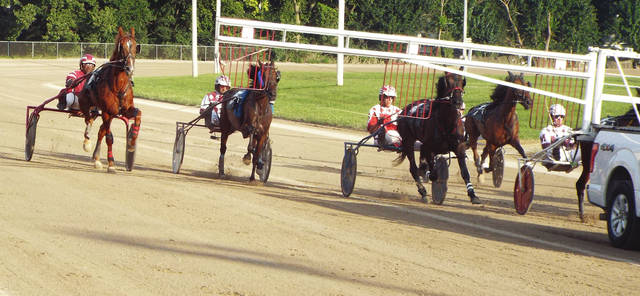 Natalie Jones | Greene County News The horses come to the gate during harness racing at the Greene County Fair Aug. 2.