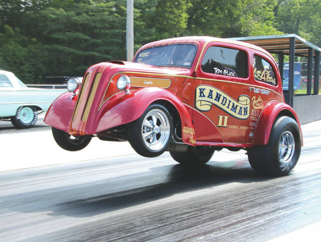 Old-time drag racing machines like this Kandiman II Anglia gasser are expected to be on hand Saturday, Aug. 18 for the annual Gathering of the Geezers drag racing reunion at Kil-Kare Dragway.