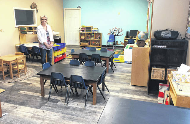 Scott Halasz   Greene County News Vicky Rose shows off the pre-kindergarten classroom at the Rosewood Learning Center.