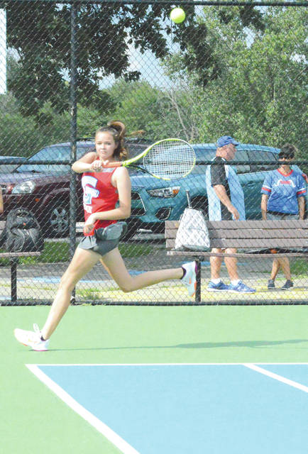 Greeneview freshman Zoe Sears chases down a baseline forehand shot during first singles play, Aug. 10 at Fairborn's Community Park. Sears defeated the Skyhawks' McKayla Lyons 6-2, 6-1.