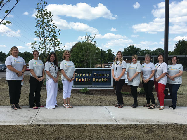 Submitted photo The ladies of the Women, Infants and Children (WIC) program proudly display their themed shirts for Breastfeeding Awareness Month 2018 in front of the new Greene County Public Health facility. Pictured: Tonja Lively, WIC Director; Elizabeth Varvel; Mindy Saunders; Tish Faler; Jamee Wellman; Joleen Channels; Nancy Cohen; Joyce Price and Karen Burchfield.