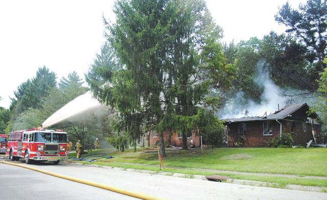 Whitney Vickers | Greene County News A fire destroyed a home on the 1400 block of Glen View Road Aug. 24 in Yellow Springs.