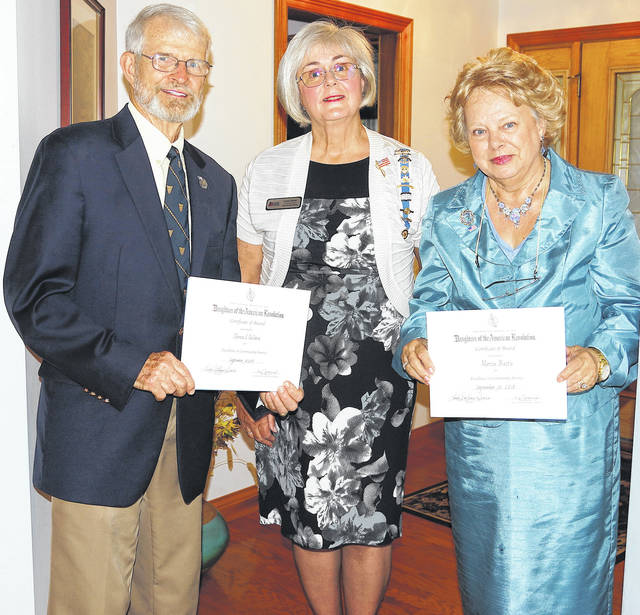 Barb Slone | Greene County News Thomas Selden (left) and Marcia Baits (right) were honored by the daughters of the American Revolution Cedar Cliff Chapter. They are pictured with Linda Sears, regent.