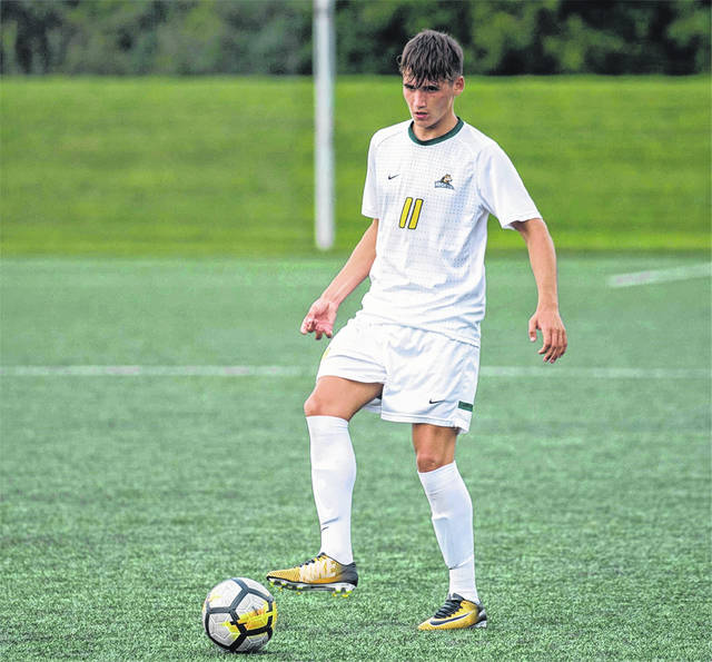 Wright State's Deri Corfe moves the ball down the field. Corfe scored the winning goal in double overtime, Sept. 8 at Northern Kentucky University.